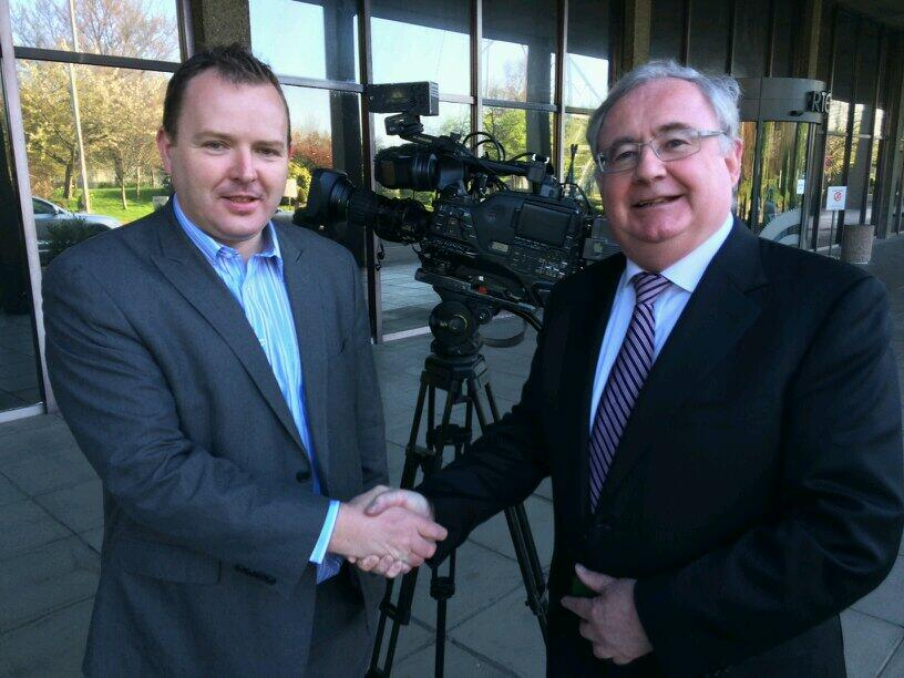 Pierce O'Reilly of Irish TV, with Minister for Communications Pat Rabbitte TD