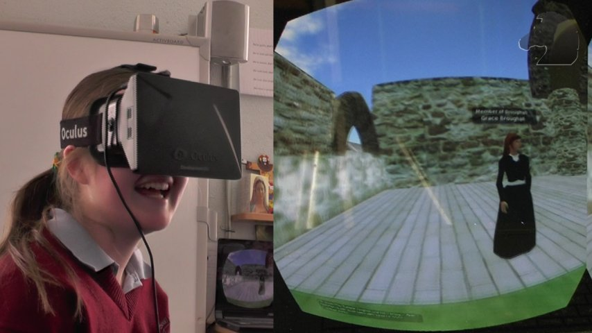 Exploring a virtual replica of the Clonmacnoise historical site using the MissionV Virtual Reality platform for teaching and training.