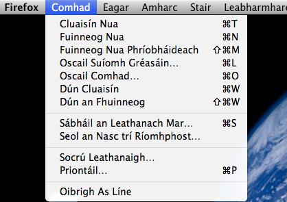 Roghchlár i bhFirefox as Gaeilge. CC BY-SA 3.0: Kevin Scannell, Wikipedia