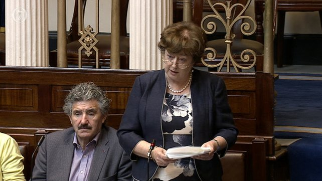 Independent TD Catherine Murphy speaking in the Dáil yesterday. Lawyers for Denis O'Brien are claiming that a High Court injunction prevents media from reporting what she said.
