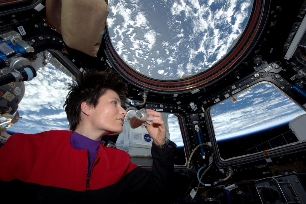 Astronaut Samantha Cristoforetti  enjoys a freshly brewed espresso on board the International Space Station. Photo Credit: NASA