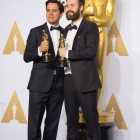 """Shan Christopher Ogilvie and Benjamin Cleary pose backstage with the Oscar® for Best live action short film, for work on """"Stutterer"""" during the live ABC Telecast of The 88th Oscars® at the Dolby® Theatre in Hollywood, CA on Sunday, February 28, 2016."""