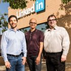 Microsoft Buys LinkedIn for $26.2bn. From left: Jeff Weiner, CEO LinkedIn; Satya Nadella, CEO of Microsoft; Reid Hoffman, chairman and co-founder of LinkedIn.