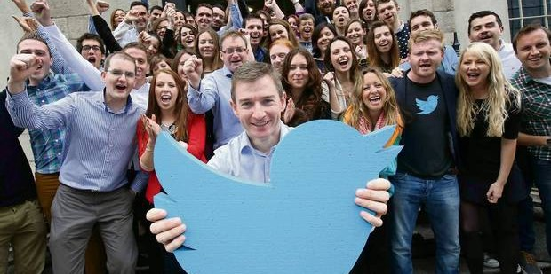 Outgoing MD of Twitter EMEA, Stephen McIntyre, is pictured with the Dublin team.