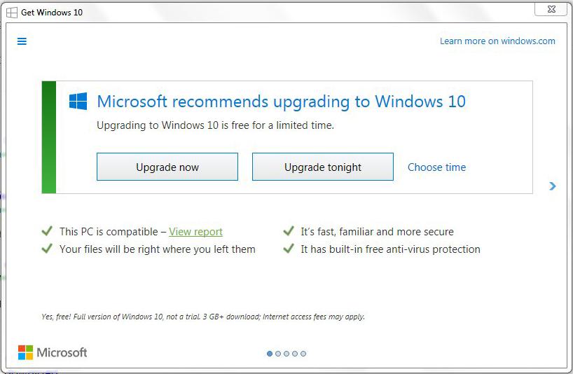 Microsoft Windows 10 Upgrade Scheduling Dialogue