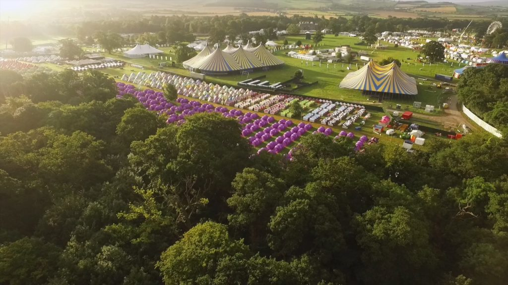 Drones-Eye-View over the site of Electric Picnic 2016