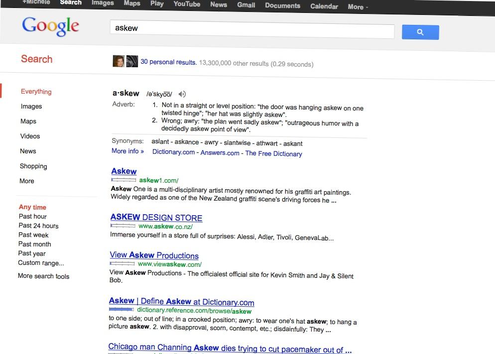 "Googling for ""askew"""