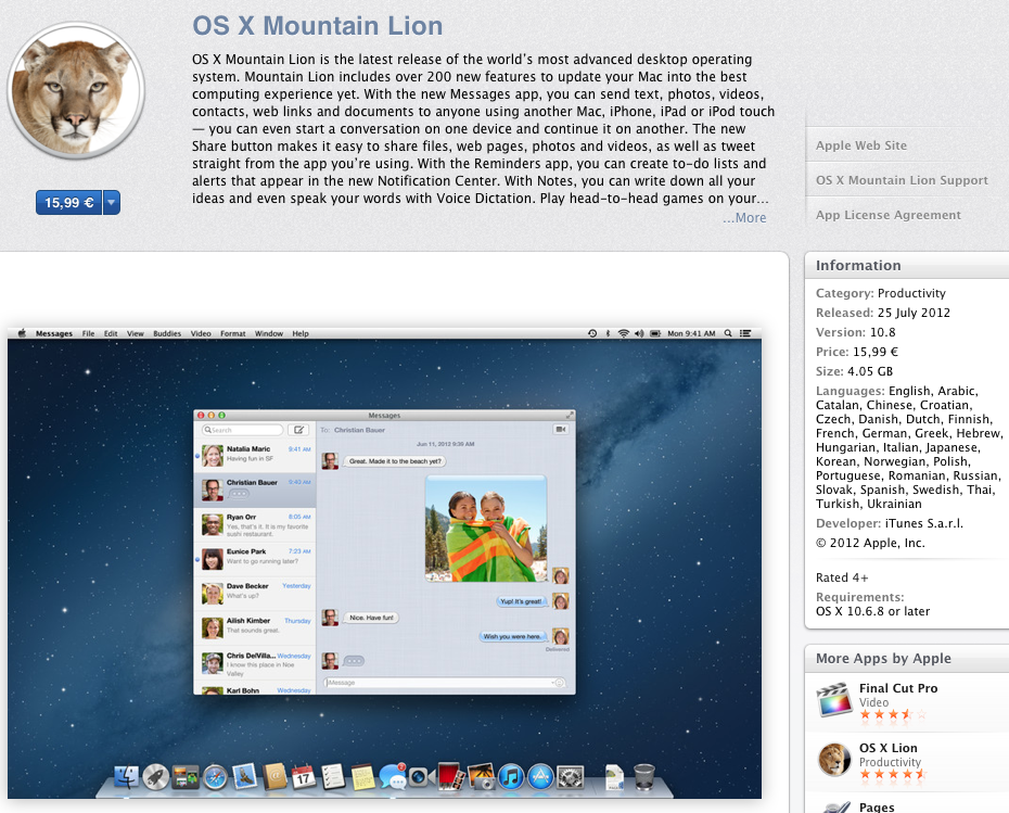 Apple OSX Mountain Lion is available on the Apple App store