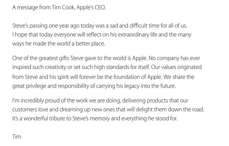 Tim Cook on Steve Jobs anniversary