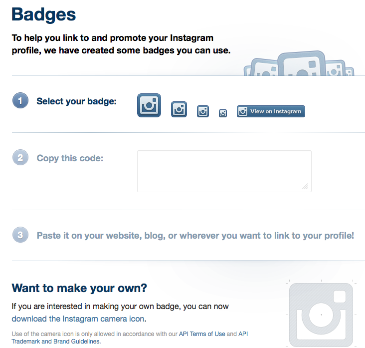Instagram Badges for business and brand usage on blogs and websites