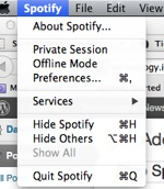 Spotify preferences menu dialog