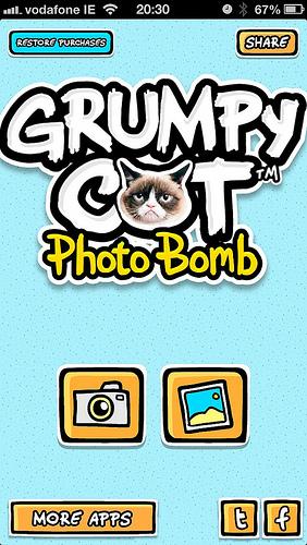 GrumpyBomb app welcome screen