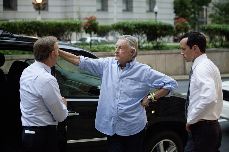 "Kevin Spacey, director Joel Schumacher and actor Nathan Darrow on the set of Netflix's ""House of Cards."" Photo credit: Patrick Harbron for Netflix."