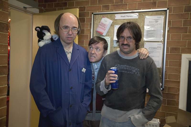 "Karl Pilkington (L), Ricky Gervais (C), and David Earl (R) in a scene from Netflix's ""Derek."" Photo credit: Netflix."