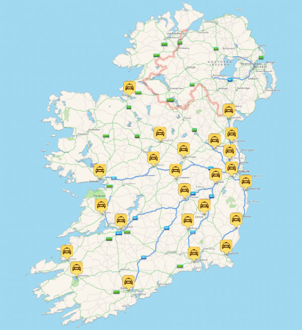 Hailo Ireland Coverage Map - March 2014
