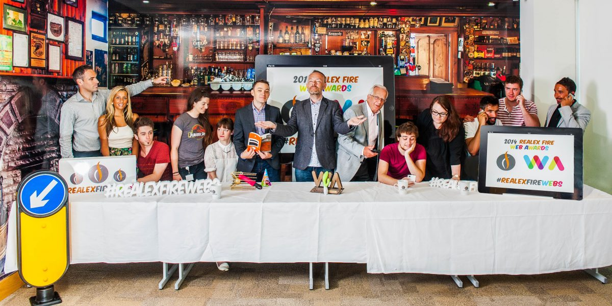 Last Supper before Realex Fire Web Awards. Presenter Rick O'Shea (centre) announces the launch of the Realex Fire Web Awards 2014 with Damien Mulley, Realex Fire Web Awards Organiser, some of last year's winners and Realex Fire Staff. Pic Brendan Lyon/ImageBureau
