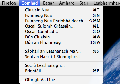 Roghchlár i bhFirefox as Gaeilge. CC BY-SA 3.0: Kevin Scannell, Wikipedia