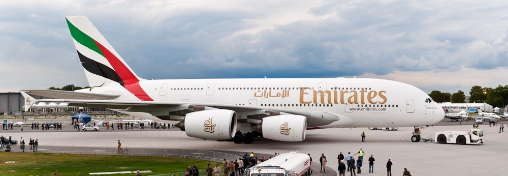 An Airbus A380 in service with Emirates