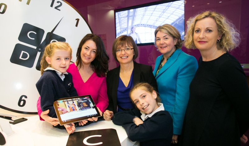 Pictured are Emily Sreenan Cassidy (7); Mary Moloney, CEO, CoderDojo Foundation; Cathriona Hallahan, Managing Director, Microsoft Ireland; Ava Sreenan Cassidy (9); Helen Raftery, CEO, Junior Achievement Ireland; and Orlaith McBride, Director of the Arts Council announcing the global Hour of Code event, run by Code.org is scheduled to take place on December 8th and, as a platinum supporter of the global initiative, Microsoft is taking a leading role in Ireland to help drive awareness of the campaign and to create as many opportunities as possible for people – young and old – to get a taste of coding.