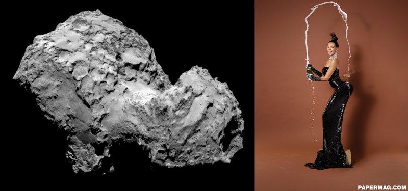 Left: Kim Kardashian. Right: Comet 67P.