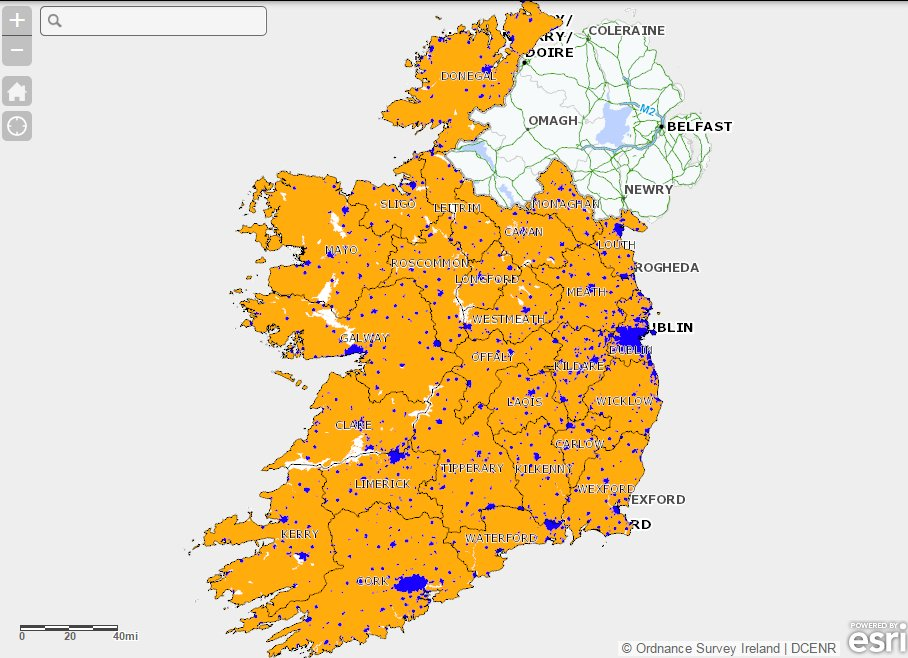 Ireland's Broadband Map. Blue: commercial provision. Amber: proposed state provision under National Broadband Plan
