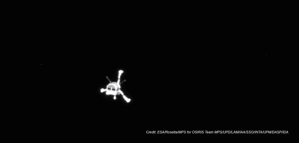 Philae landing craft on its way to the comet. Photgraphed by Rosetta mothership