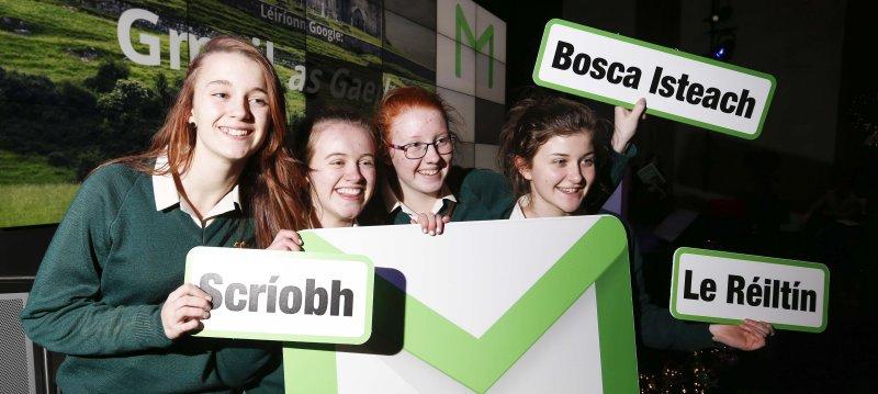Pictured (l-r) at the launch of Gmail as Gaeilge were students from Colaiste íosagáin, Stillorgan Saoirse Lambkin Ní Chatháin, Caoilín Ní Dhuibhne, Caoimhe Nic Gabhann and Sophia Desay. Picture Conor McCabe Photography.