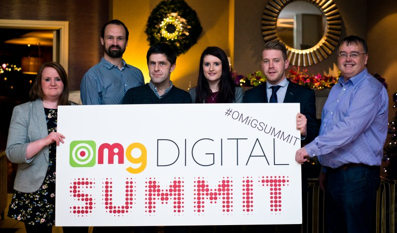 Pictured at the launch of the OMiG Digital Summit 2015 in Galway last night were organisers Maricka Burke-Keogh, Robin Chedegy, and David Glynn; Stephanie Morrin and Kenneth Kelly, Galway Advertiser (OMiG Media Partner); Conn Ó Muíneacháin, Blacknight (OMiG Gold Sponsor). Picture Credit: Julia Dunin, JuliaDunin.com