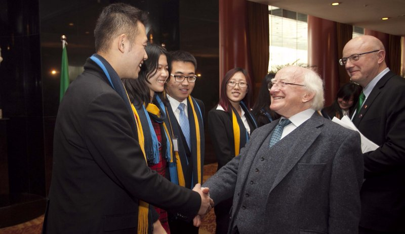 President Higgins is pictured with Prof Mark Ferguson, Director General, Science Foundation Ireland (SFI) and students from the Beijing-Dublin International College (BDIC) at a Science and Technology event in Beijing hosted by SFI.  BDIC is a joint international partnership between University College Dublin (UCD) and Beijing University of Technology (BJUT).