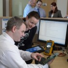 Liam Mullane and Rosemarie Sheehy at work in the Software Development Department at Dairymaster in Kerry