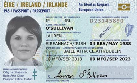 A sample of the new Irish Passport Card