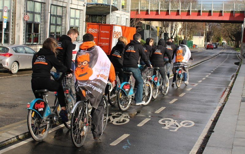 Nitronauts take part in a 'cycle-by' as part of Nitro's recruitment drive