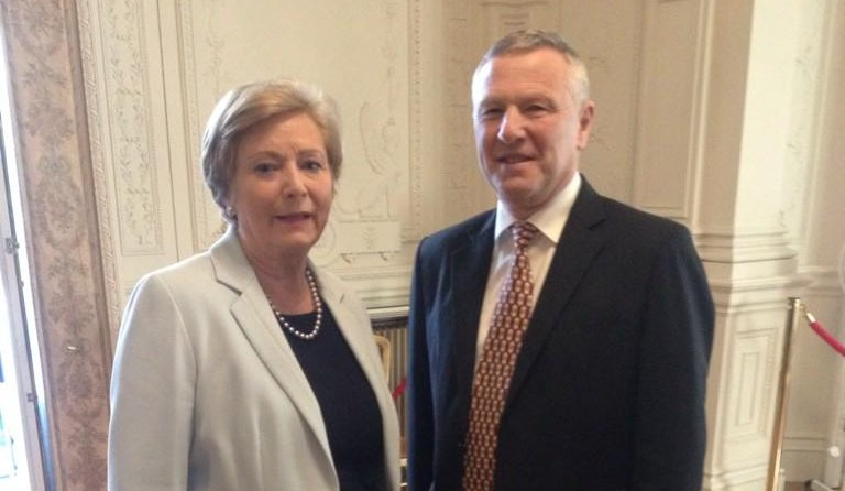 Minister for Justice, Frances Fitzgerald TD with Paul Durrant, CEO ISPAI. Picture Credit: Department of Justice