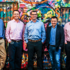 Realex Payments Management Team, from left: Paul Davey (CFO), Gary Conroy (COO), Andrew Yoakley (Head of Business Development), Morgan Hammersley (CIO), Colm Lyon (CEO & Founder), Ciarán Cassidy (Head of Product Management), Owen O'Byrne (Chief Product Architect)