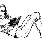 Sketch Of A Beautiful Girl Reading A Book