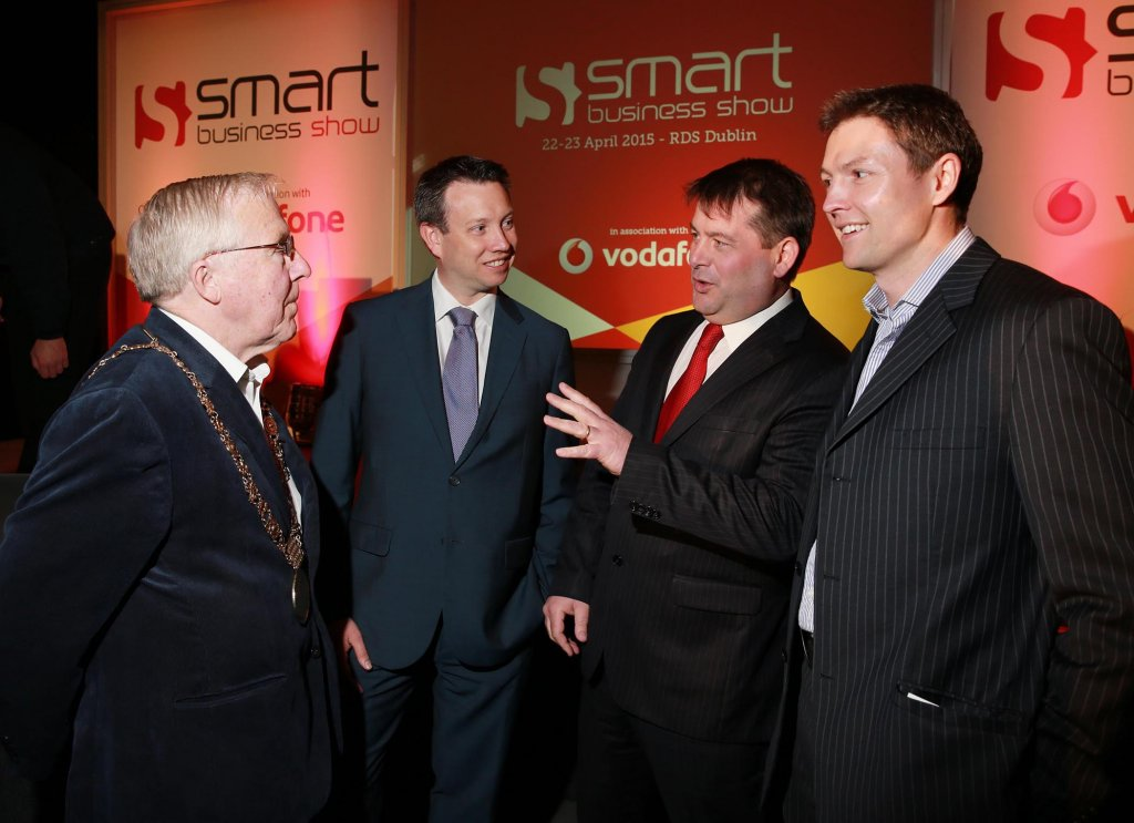L-R: Christy Burke, Lord Mayor of Dublin; Ray Collins, Strategy and Corporate Affairs Director, Vodafone Ireland; Dara Murphy T.D., Minister for European Affairs & Data Protection, and Minister of State at the Department of the Taoiseach and Brian Corry, Chief Executive Officer, Smart Business Show