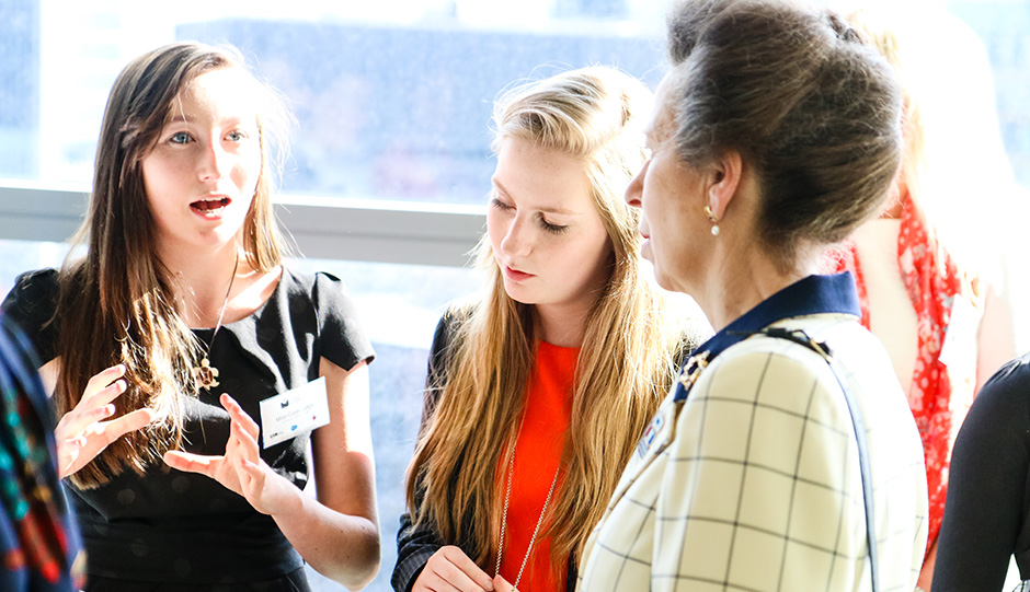 Startup founders Ciara Judge and Emer Hickey explaining their company Germinaid Innovations to HRH The Princess Royal at the launch of Outbox Incubator in London