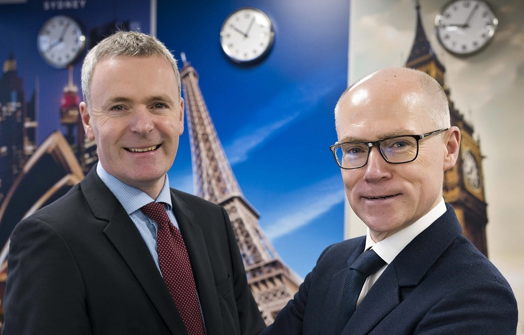 Cathal O'Boyle, Director of Development Shared Services, Neopost, and Clem Garvey, Chief Operating Officer Europe, APAC, Export, Neopost, at the new European Operations Centre.