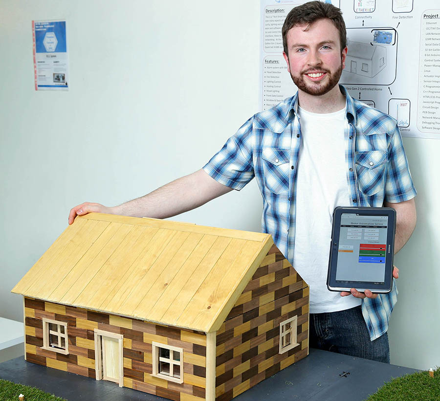 David Walshe from GMIT with his project Tech Smart Home, one of the winners at the final of the Intel 3rd level Galileo competition. A total of 8 projects have made it through to the final where students design Internet of things applications with the Intel Galileo board. Pic: Marc O'Sullivan