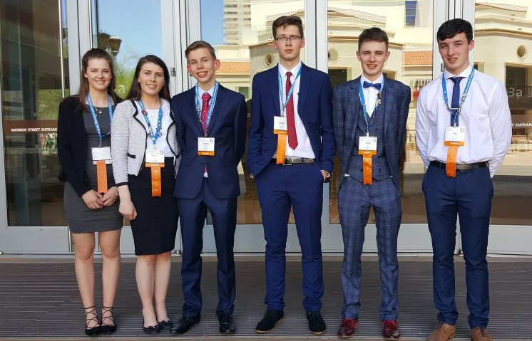 Lauren Murphy, Eimear Murphy, Adrian Wolniak, Gabriel Barat, Louis Madden and Ian O'Sullivan are pictured at Intel ISEF 2016 in Phoenix, Arizona