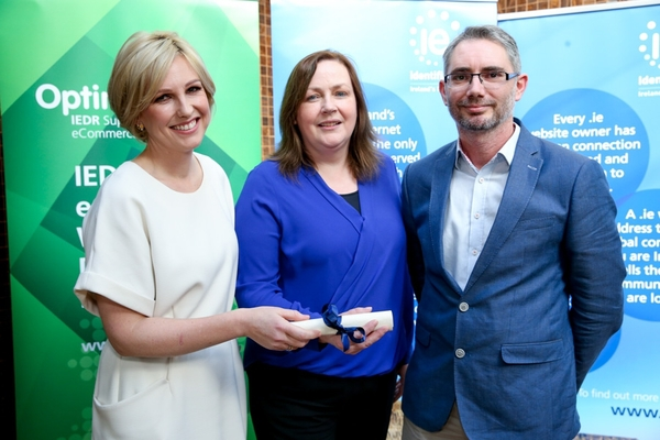 Chef Domini Kemp at the launch of Optimise 2016, with one of the 2015 winners Christine Shine from GPMI.ie, and Gianni Ponzi of Blacknight, Ireland's leading domain name registrar