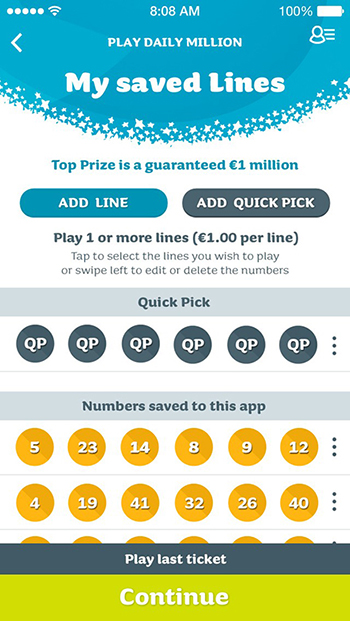 Screen capture of National Lottery App