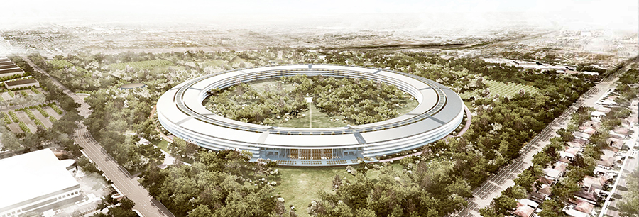 Artist's rendering of Apple Campus Two, which is under construction. Apple Energy is a new subsidiary which could sell surplus solar power generated at the site.