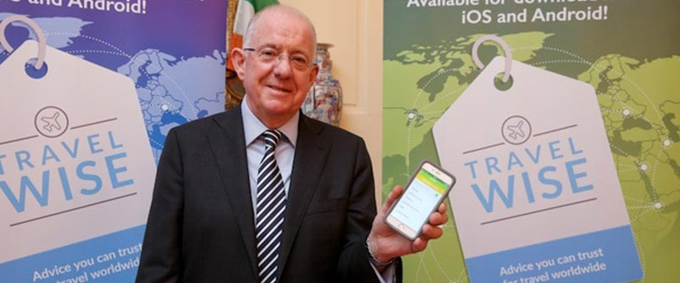 Minister for Foreign Affairs and Trade, Charlie Flanagan TD, launches the new TravelWise smartphone app