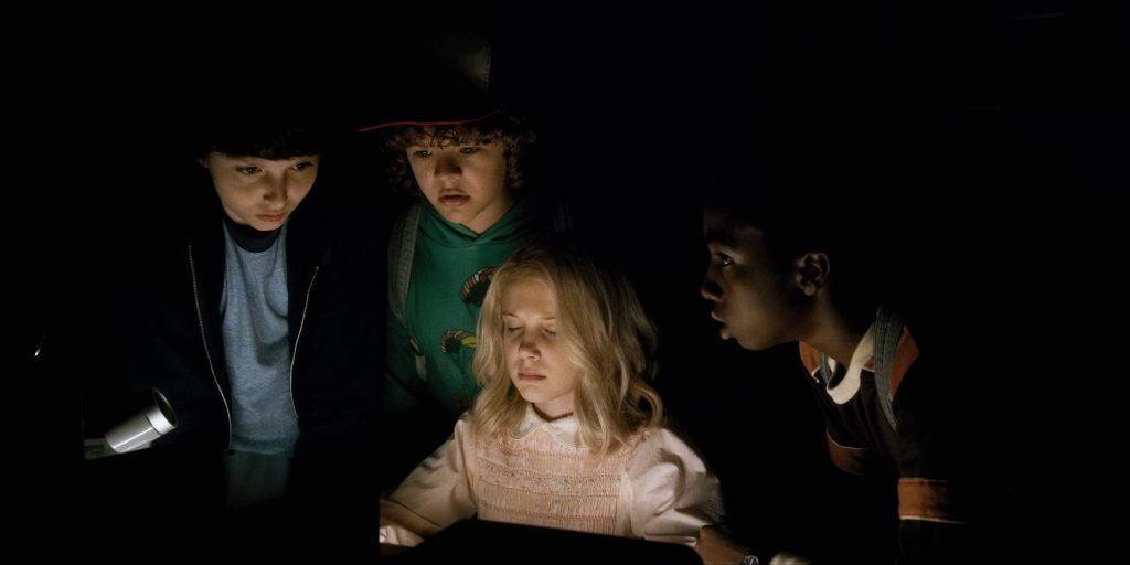 Millie Bobby Brown, Finn Wolfhard, Gaten Matarazzo, Caleb McLaughlin star in the Netflix orginal series Stranger Things. Photo courtesy of Netflix