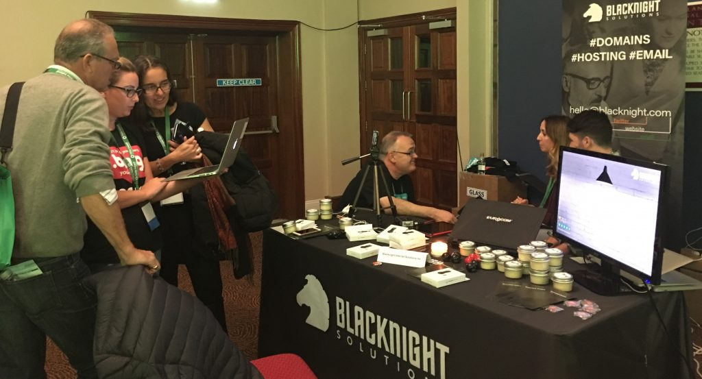 Busy at the Blacknight BLOG Booth, at TBEX Ireland, 2017.