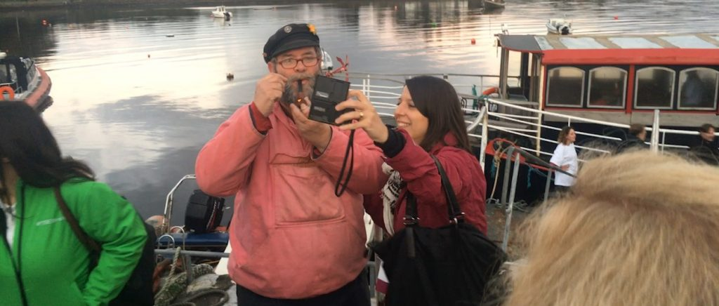 Selfie with the captain! Bloggers at Kenmare Pier, at TBEX Ireland, 2017.